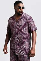 BoohooMAN Big & Tall Tile Print Revere Jersey Shirt