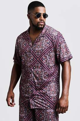 Big & Tall Tile Print Revere Jersey Shirt