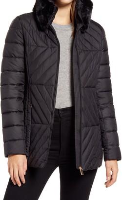 Via Spiga Water Resistant Faux Fur Collar Puffer Coat