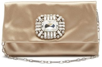 Jimmy Choo Titania Crystal-embellished Satin Clutch - Beige