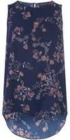 Dorothy Perkins Womens Blue Floral Print Sleeveless Top