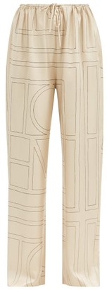 Totême Vizelle Logo-embroidered Silk-twill Trousers - Ivory