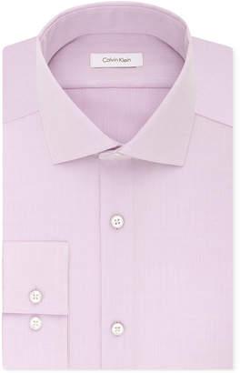 Calvin Klein Steel Men Slim-Fit Non-Iron Performance Spread Collar Herringbone Dress Shirt