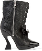 Loewe Patent-trimmed Textured-leather Boots - Black