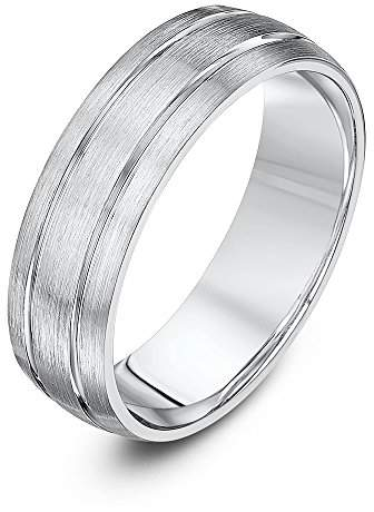 Theia Palladium 950, Heavy Weight, Court Shape, 6 mm, Matted and Polished Grooved Wedding Ring - Size U
