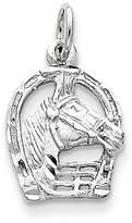 goldia 14k or White Gold Diamond-cut Horse Head in Horseshoe Charm