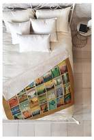 "DENY Designs Beige Travel Anderson Design Group City Pattern Border Sherpa Throw Blanket (50""X60 ;"