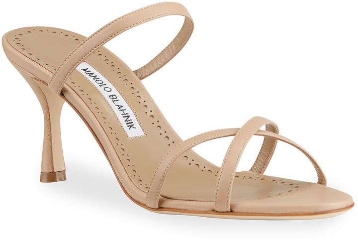 Manolo Blahnik Banga 70mm Crisscross Slide Sandals