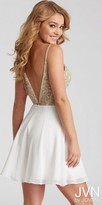 JVN by Jovani Illusion Rhinestone Embellished Open Back Fit and Flare Homecoming Dress