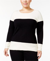 Charter Club Plus Size Colorblocked Sweater, Only at Macy's