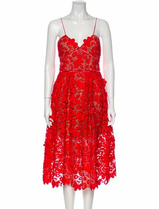 Self-Portrait Lace Pattern Knee-Length Dress Red