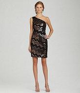 Night Way Zigzag Sequin One-Shoulder Dress