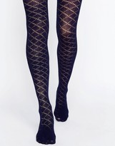 Gipsy Navy Crochet Diamond Tights