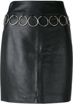 Jeremy Scott leather skirt - women - Polyester/Sheep Skin/Shearling - 38