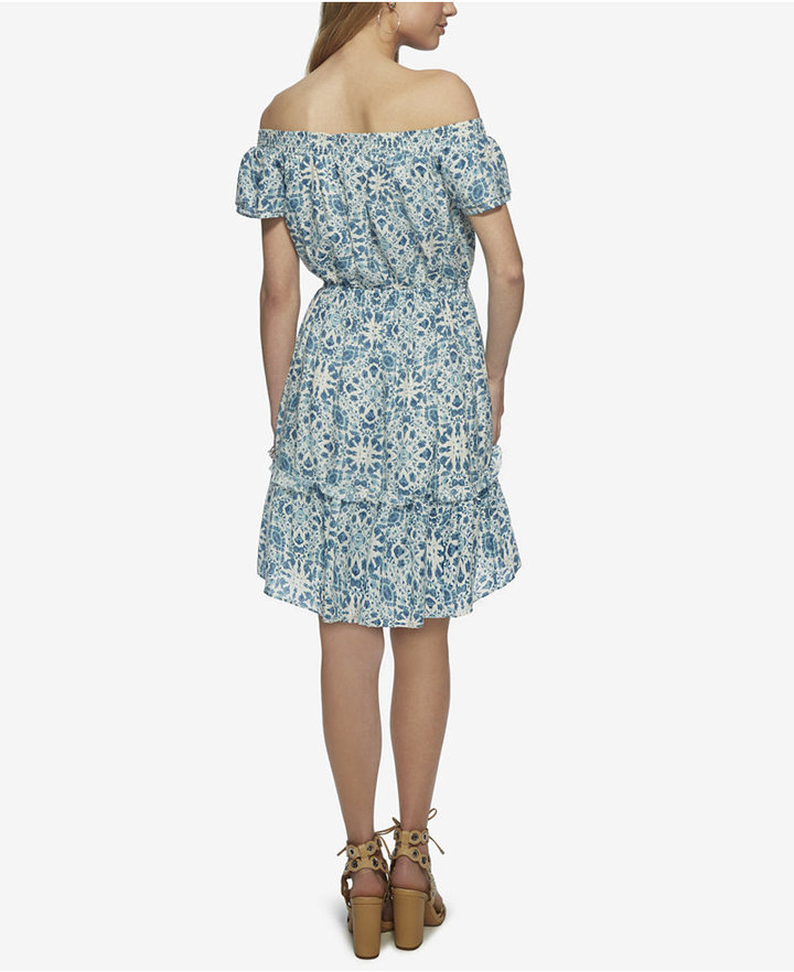 Jessica Simpson Yunice Printed Off-The-Shoulder Ruffle Dress
