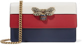 Gucci Queen Margaret Embellished Leather Shoulder Bag - Red