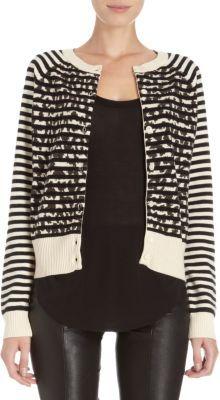 Thakoon Striped and Leopard Print Cardigan