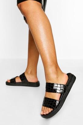boohoo Croc Double Strap Footbed Sliders
