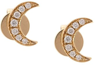 Anita Ko 18kt Yellow Gold Diamond Crescent Moon Studs