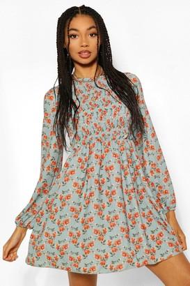 boohoo Smocked Floral Print Skater Dress