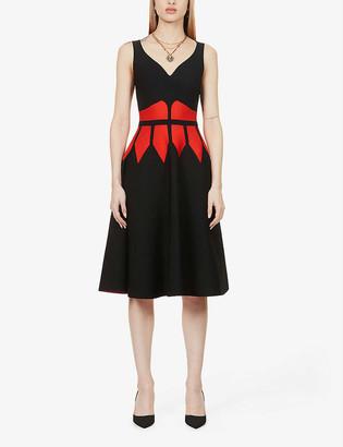 Alexander McQueen Woven-pattern stretch-knit mini dress