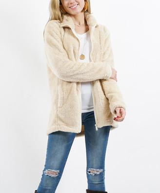Lydiane Women's Fleece Jackets CREAM - Cream Faux Fur Pocket Zip-Up Jacket - Women