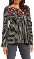 Sugar Lips Sugarlips Lace-Up Embroidered Tunic Top
