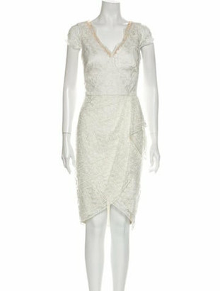 Marchesa Notte V-Neck Midi Length Dress w/ Tags