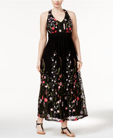 INC International Concepts Plus Size Embroidered Open-Back Maxi Dress, Only at Macy's