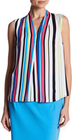 Nine West Striped V-Neck Sleeveless Blouse