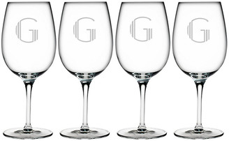 One Kings Lane Set of 4 Hudson Monogram Bordeaux Glasses - clear