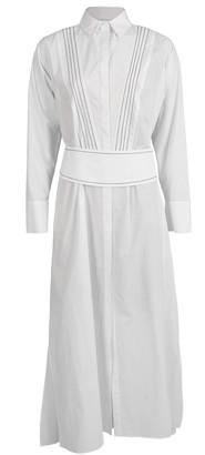 Brunello Cucinelli Long Sleeve Poplin Bib Dress