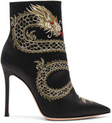 Gianvito Rossi Satin Embroidered Dragon Booties
