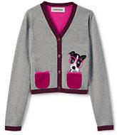 Classic Toddler Girls Sophie V-Neck Intarsia Cardigan-Gray Heather Dog