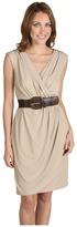 Jax Solid Jersey Belted Wrap Dress (Stone) - Apparel