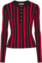 Altuzarra Alessio Striped Ribbed Stretch-knit Sweater - Crimson