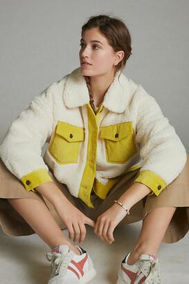 Anthropologie Leslie Corduroy-Trimmed Sherpa Jacket By in Beige Size XS