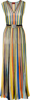 Missoni Pleated striped crochet-knit maxi dress