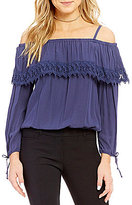 I.N. San Francisco Off-The-Shoulder Long-Sleeve Lace Trim Top