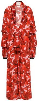 Johanna Ortiz Oriental Poppies Embellished Floral-print Silk-crepe Kimono