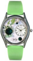 Whimsical Watches Women's S0910005 Imitation Birthstone: May Light Green Leather Watch