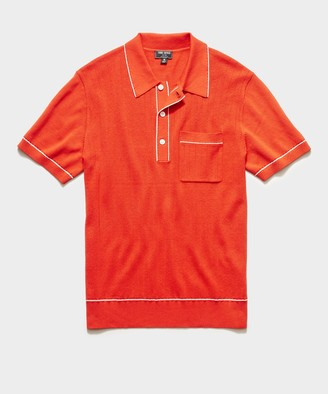 Todd Snyder Italian Cotton Silk Tipped Ribbed Polo Sweater in Poppy