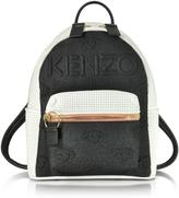 Kenzo Metallic Denim Black and Leather Kombo Backpack