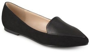 Brinley Co. Women's Pointed Toe Faux Suede Loafer Flats