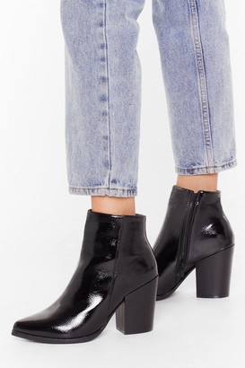 Nasty Gal Womens Save Your Sole Faux Leather Patent Boots - Black - 3