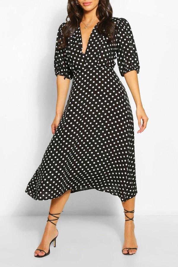 boohoo Petite Polka Dot Midaxi Dress