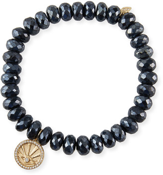 Sydney Evan 14k Black Spinel Diamond Evil Eye Coin Bracelet