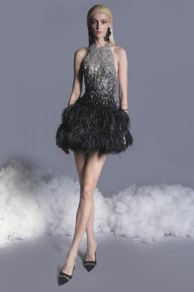 GEORGES HOBEIKA Beaded Tulle Feathered Dress