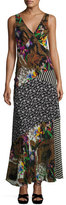Etro Patchwork Floral Silk Maxi Dress, Black