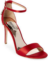 Badgley Mischka Coral Red Bartley Jeweled Two-Piece Sandals